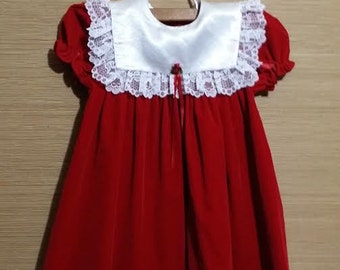 Litttle girl red vintage holiday dress, size 4T
