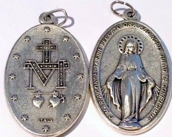 "Set of 2 Miraculous Medals Virgin Mary Medal From Italy Large Size 1.75"" Tall"