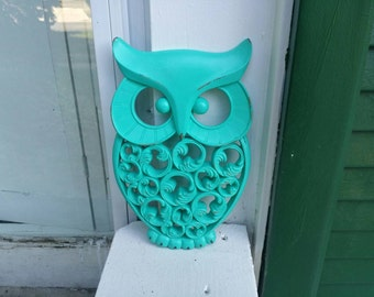 Owl Wall Decor Hand Painted And Hand Distressed // Turquoise Color // Distressed Owl // Turquoise Owl Wall Decor //
