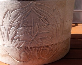 Old wood container with lid and carvings