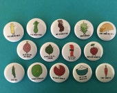 """The Pepper Mill Shop - 1"""" funny food pun refrigerator / office magnets - 14 different designs!"""