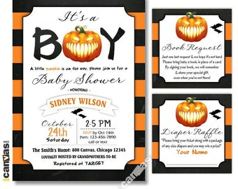 Halloween Baby Shower Invitation, Little Pumpkin Baby Shower Invites, It's a Boy, Fall Pumpkin Shower Invitation, Autumn Pumpkin Party HL 11