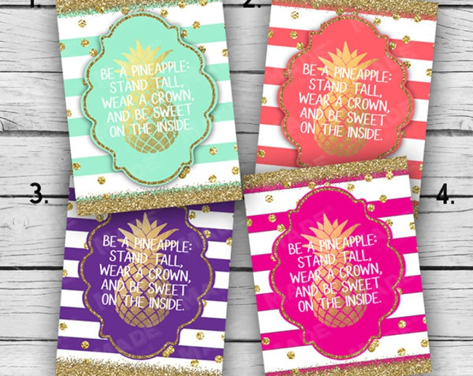 PINEAPPLE - Be a Pineapple: Stand Tall, Wear a Crown, & Be Sweet On the Inside Note Card Set, Stationery, Motivational Cards, Gold Glitter