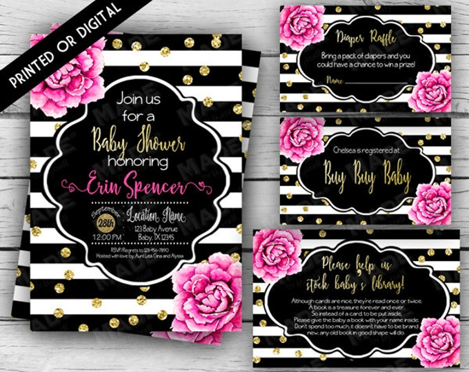 Printed - PINK PEONIES BABY Shower Set, Floral Baby Shower Invitation Set, Stripes, Gold, Girl Baby Shower, Party, Stationery