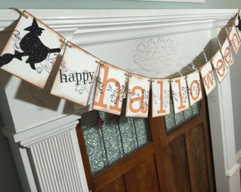 Happy Halloween Banner, Halloween Decor, Halloween Party Garland, Halloween Decoration, Fall Decor with witches