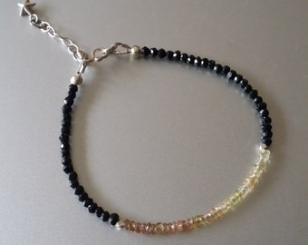 Faceted Yellow Sapphire and Black Spinel BRACELET with Sterling Extender Chain and Star Charm