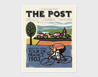 The Post - TOUR DE FRANCE, Le Tour, Cycling, Sports, Bicycle, Wall Art Print, Vintage Poster, Wall Decor