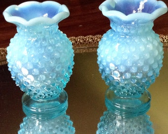 2 Blue & Milk Fenton Hobnail Glass Vases
