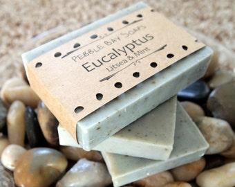 Sale - Eucalyptus Soap - Eucalyptus Litsea Peppermint Soap - Essential Oil Soap - Natural Soap - Handmade Soap - Cold Process Soap
