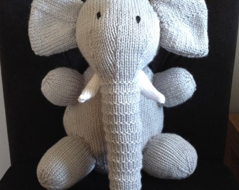 Grey elephant soft toy, hand knitted, children's toy