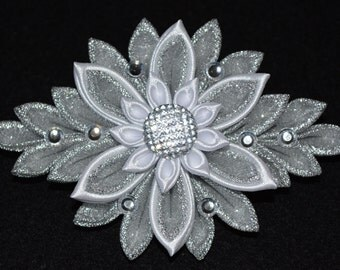 Handmade Girl's/Ladies Bling French Barrette Hair Clip, Kanzashi, Silver/White