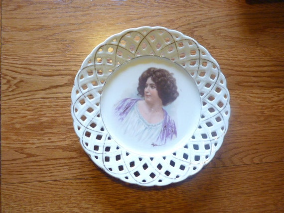 Antique Ribbon Plate Vintage French Decor By