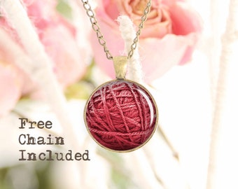 Yarn Ball necklace. Romantic gift pendant. Free matching chain is included.