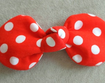Red and White Polka Dots Fabric Top Knot Clip Hair Clip