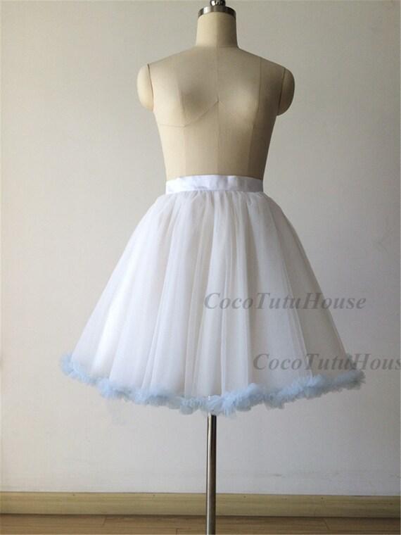 light blue ruffled trim white tulle skirt petticoat underskirt