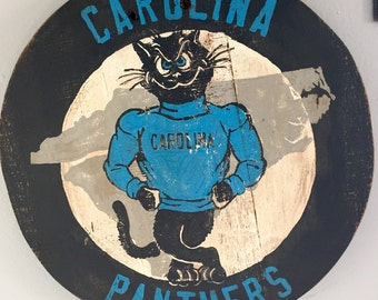 "Hand Painted ""Vintage"" Carolina Panthers Plaque / Sign"