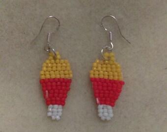 Halloween Beaded Candy Corn Handmade Earrings