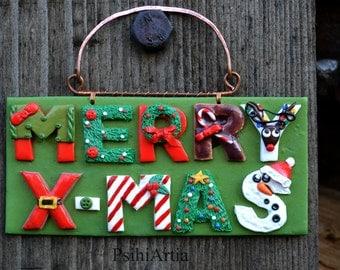 Christmas door decoration Christmas door hanger Christmas decoration Polymer clay creations Christmas gift ideas Christmas decor Christmas