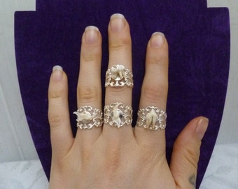 Gorgeous filigree rings with REAL mouse jaws and fox teeth, taxidermy, bone ring, animal teeth