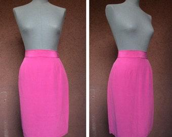 1960's Pink Silk Pencil Skirt - 60's Silk Skirt - Size S-M