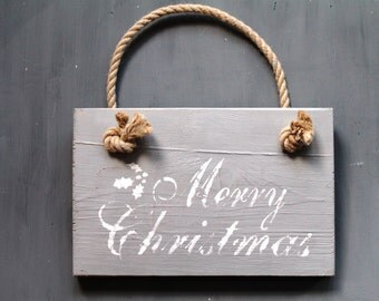 Merry Christmas Sign with Rope