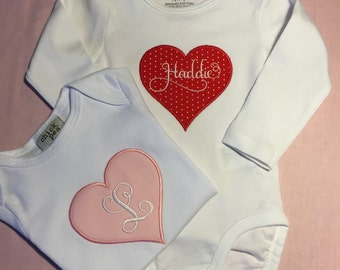 Valentine's Day Heart Personalized Bodysuit Creeper Shirt Embroidered with name or Initials