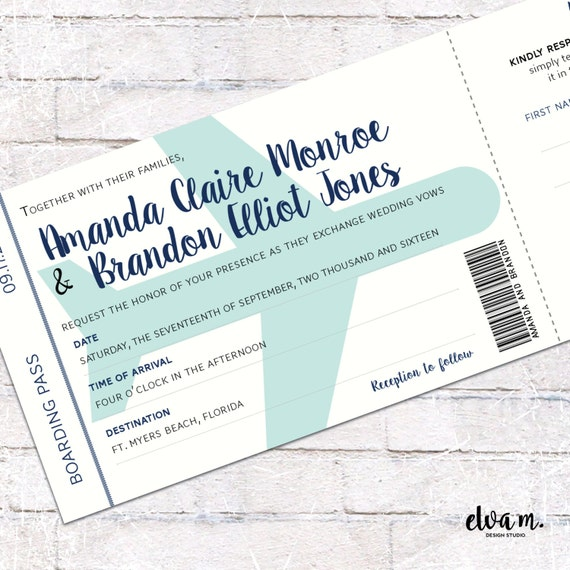 Plane Themed Boarding Pass Wedding Invitation With Tear