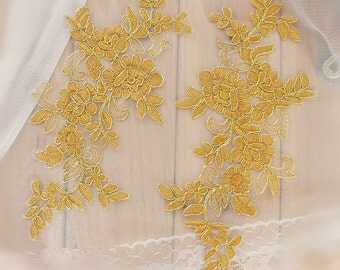 Gold Lace Appliques Venice Lace Flower Collars Corsage Costome Decor Lace Patches 1 Pair YL412