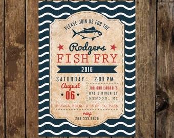 DIY Printable Fish Fry Invitation. Backyard BBQ Fish Fry Party Invitation. Vintage Fish Fry Event. Fish Fry Rehearsal Dinner or Birthday.