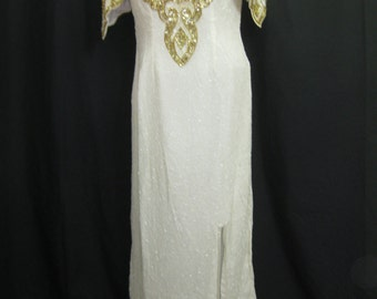 Long ivory and gold gown #326
