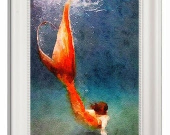 Mermaid ,art print ,Watercolor Painting ,Wall Art christmas gift ,Home Decor , gift for her ,Pic No 2