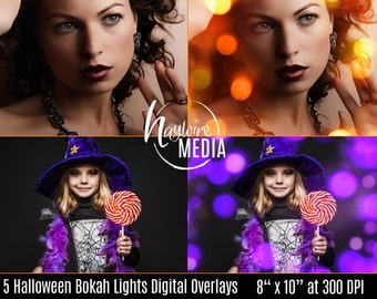 Digital Halloween Sparkles Photoshop JPG Overlay - Bokeh Light Effect for Photographers - 5 Versions - Instant Download
