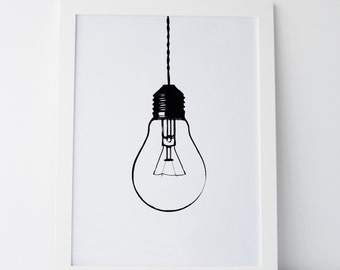 "Printable Art ""Light Bulb Print"" Light Bulb Wall Art Light Bulb Art Light Bulb Prints Gallery Wall Art Gallery Wall Prints Cute Home Decor"