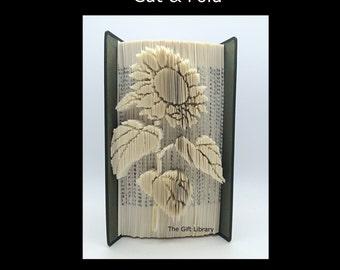 Cut & Fold Book Folding PATTERN~ Sunflower,   Mark, measure cut and fold