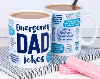 Funny Father's Day Mug: Emergency Dad Jokes - dad birthday gift - funny gift, gift for dad, dad mug, dad jokes mug, father's day gift