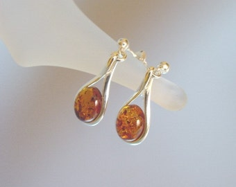 Baltic Amber and Sterling Silver Earrings - Natural Honey Baltic Amber Jewelry