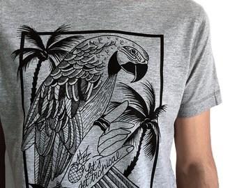 Parrot T-Shirt for men, parrot printed shirt, TROPICAL tshirt, palm trees Hawaiian tee Shirt, pineapple tshirt Bohemian shirt, tattoo tshirt