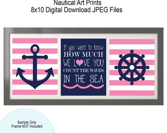 Nautical Art Prints, DigitalFile, 8x10, Anchor, Ships Wheel, Count the waves in the sea, Pink and Navy