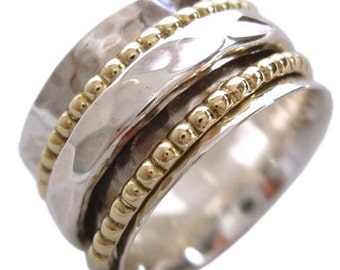 """Sterling Silver """"CLARITY"""" Spinning Meditation Ring with 2 Brass and 1 Hammered pattern spinners by Energy Stone(Style# US01)"""