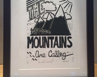 The Mountains Are Calling Linocut Print Limited Edition
