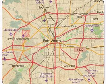 Fort Worth Vintage Map Coasters