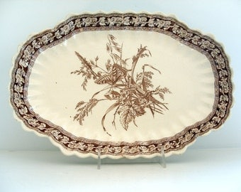 Vintage Transferware Platter Aesthetic Movement Brown Transferware Antique Staffordshire Scalloped Edge Platter  English China c 1890
