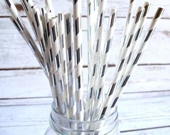 SILVER METALLIC STRIPE 25 Paper Straws with Silver Metallic Stripe Pattern, Wedding, Party, New Year, Christmas Paper Straw