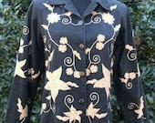 EMBROIDERED Black Denim Jacket SHIRT, VINTAGE Boho, Hippie coat, Tan/Gold Vines Floral Indian-Inspired, Button Down denim, Long Sleeves, S