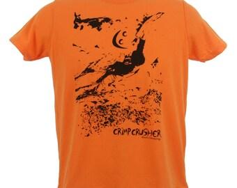 Crimp Crusher Rock Climbing Shirts - Reaching the Next Crimp