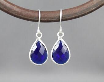 Dark Blue glass earrings faceted teardrop pendant silver dangle lightweight small dainty wedding jewelry bridesmaid gift cobalt navy blue