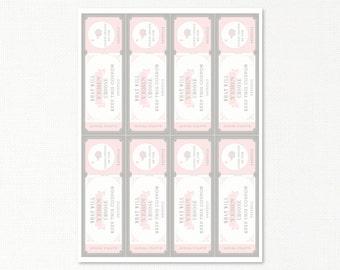 Doljabi Raffle Tickets - Korean First Birthday - Girl - 64 count - custom digital printable, pink gray elephant