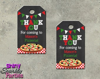 """Printable """"PIZZA PARTY FAVOR Tags"""" - Pizza Birthday Party Favor Tags - Pizza Themed Gift Tags - Pizza Party Tags - Pizza Thank You Tags"""
