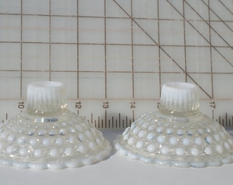 Anchor Hocking Moonstone Opalescent Hobnail Pair of Candle Holders