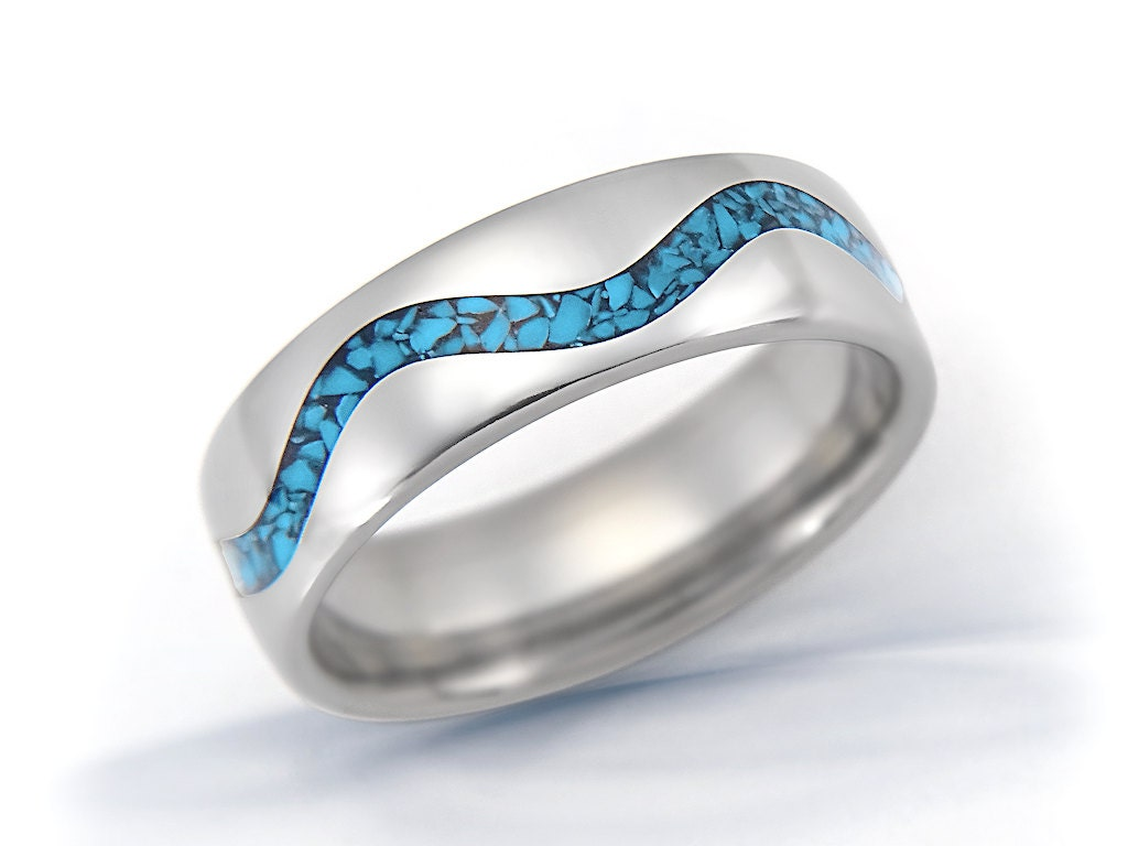 Titanium ring turquoise ring mens ring womens ring wedding for Mens turquoise wedding rings